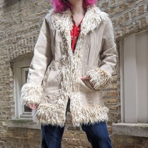 VTG 90s Penny Lane leather faux fur coat